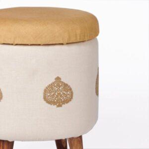 Assam Eri Silk-Cotton Circular Storage Ottoman-c