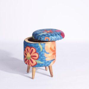 Blue-Orange Kashmiri Circular Storage Ottoman b