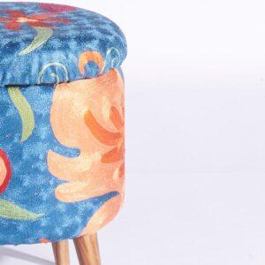 Blue-Orange Kashmiri Circular Storage Ottoman c