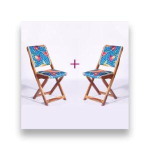 Blue-Orange Kashmiri Folding Chair – Set of 2