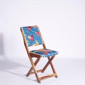 Blue-Orange Kashmiri Folding Chair – Set of 2 a
