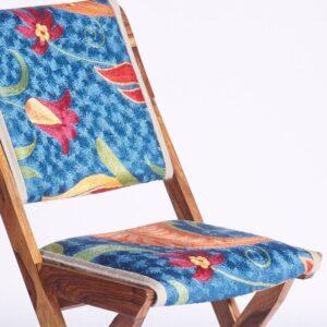Blue-Orange Kashmiri Folding Chair b