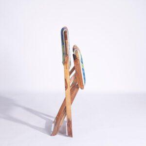 Blue-Orange Kashmiri Folding Chair e