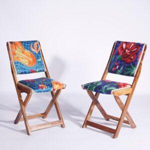 Blue-Orange Kashmiri Folding Chair f