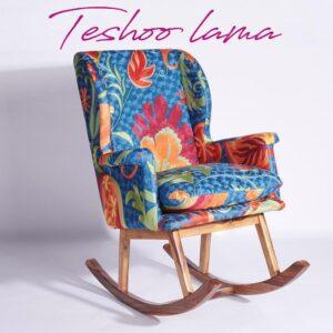 Blue-Orange Kashmiri Rocking Chair