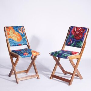 Blue-Pink Kashmiri Folding Chair g