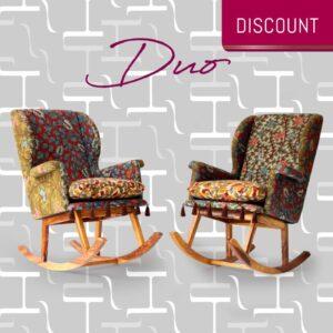 Duo of Teshoo Lama Rocking Chairs in Kalamkari