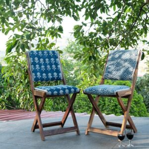 Floral Patterned Dhurrie Folding Chair-a