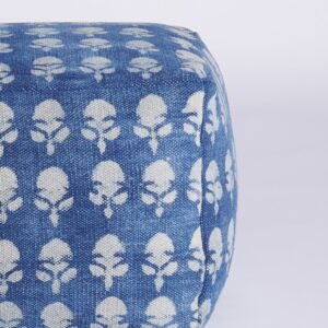 Floral Patterned Dhurrie Pouffe-a