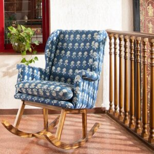 Floral Patterned Dhurrie Rocking Chair-a
