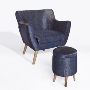 Floral Star-Patterned Ajrakh Armchair-a