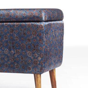 Floral Star-Patterned Ajrakh Rectangular Storage Ottoman-c