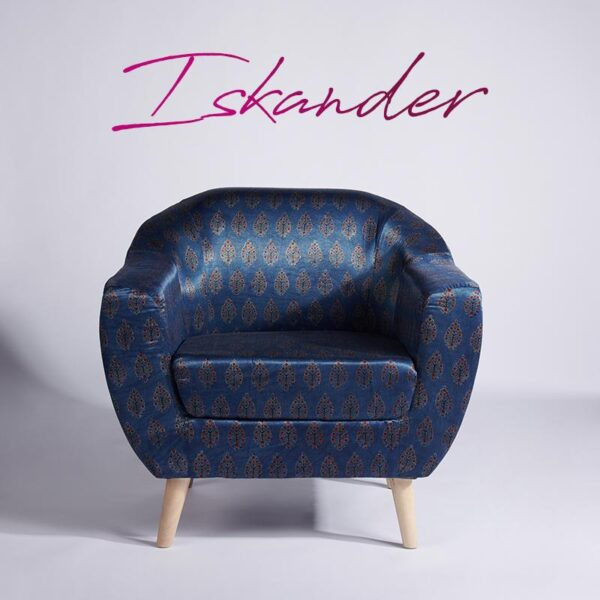Leaf-Patterned Ajrakh Accent Chair