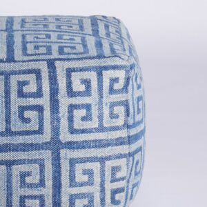 Maze Patterned Dhurrie Pouffe-a