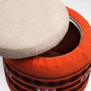 Naga Shawl Circular Storage Ottoman-a