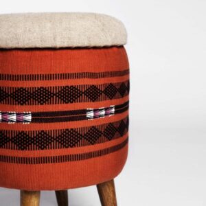 Naga Shawl Circular Storage Ottoman-b