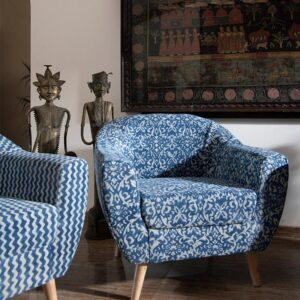 Ornate Patterned Dhurrie Accent Chair-a