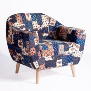 Red-Blue Banni Patchwork Accent Chair-a