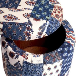 Red-Blue Banni Patchwork Circular Storage Ottoman-a