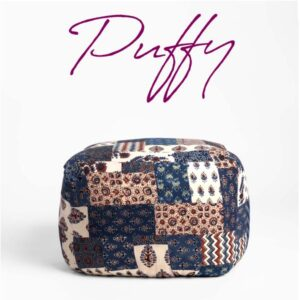 Red-Blue Banni Patchwork Pouffe