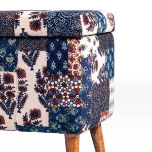 Red-Blue Banni Patchwork Rectangular Storage Ottoman-c