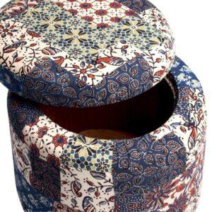 Red-Blue-Green Banni Patchwork Circular Storage Ottoman-a