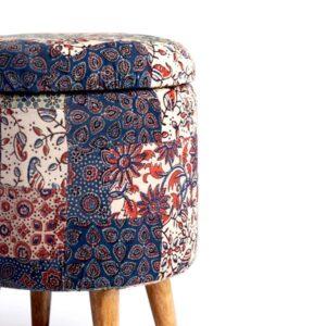 Red-Blue-Green Banni Patchwork Circular Storage Ottoman-b
