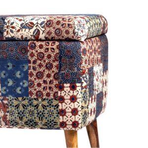 Red-Blue-Green Banni Patchwork Rectangular Storage Ottoman-b