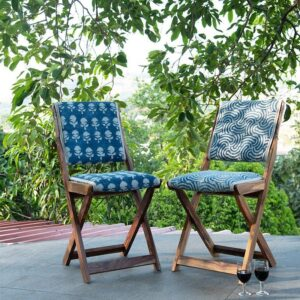 Spiral Patterned Dhurrie Folding Chair-1