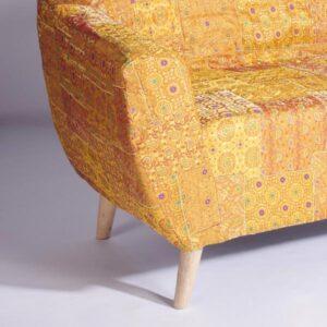 Yellow-Gold Benarasi Brocade Loveseat Slipcover1