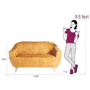 Yellow-Gold Benarasi Brocade Loveseat Slipcover2
