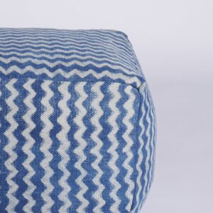 Zigzag Patterned Dhurrie Pouffe-a