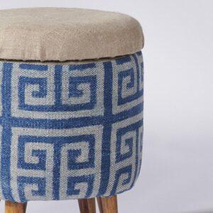 maze-patterned-dhurrie-circular-storage-ottoman-b