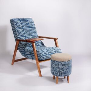 maze-patterned-dhurrie-lounge-chair-with-detachable-surface-and-knob-a
