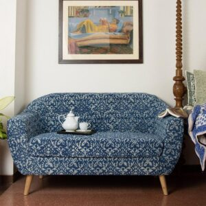 ornate Patterned Dhurrie 2-Seater Loveseat-a