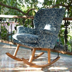 ornate Patterned Dhurrie Rocking Chair-c