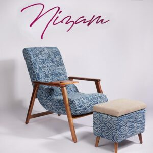 spiral-patterned-dhurrie-lounge-chair-with-etachable-iurface and-knob