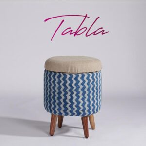 zigzag-patterned-dhurrie-circular-storage-ottoman